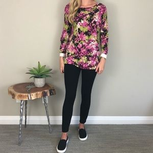 J. Jill Floral Long Sleeve Sweater Top Small Pink